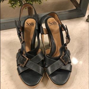 New Navy Sofft Strappy Wedges